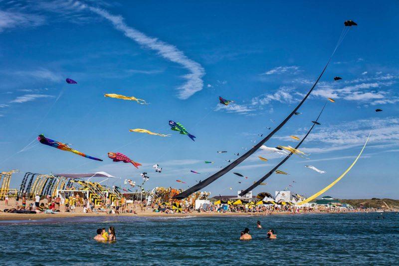 Люди купаются в море на фоне пляжа, где запущены воздушные змеи в форме рыб, трилобита, птиц и абстрактных форм