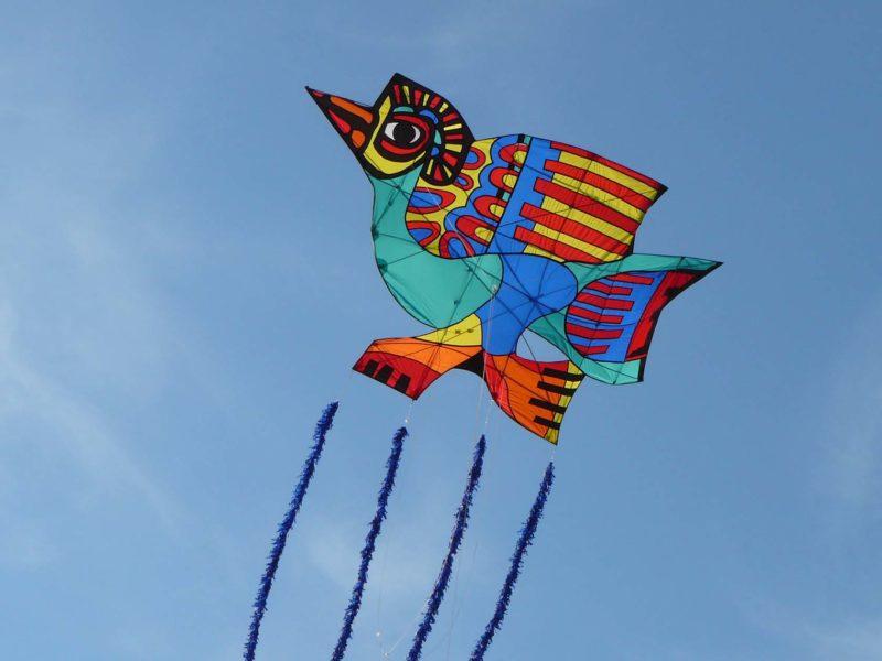 ВОздушный змей в форме птицы на фоне голубого неба